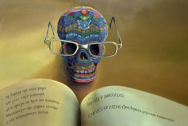 lebka s brýlemi